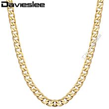 8mm Mens Womens Chain Yellow Gold Filled Necklace Curb Chain Customized Wholesale Jewelry Gift Jewellery LGN13(China)