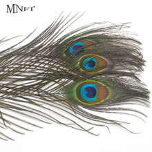 MNFT 10PCS 20-30cm Beautiful Natural Peacock Tail Feathers Eyes Fly Fishing Lure DIY Material(China)