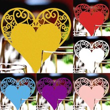 Buy 50Pcs/Pack! Wedding Table Decoration Place Cards Laser Cut Heart Floral Wine Glass Place Cards Wedding Party Decoration for $2.79 in AliExpress store