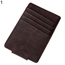 Men's Fashion Faux Leather Magnetic Bills Card Holder Wallet Gift(China)