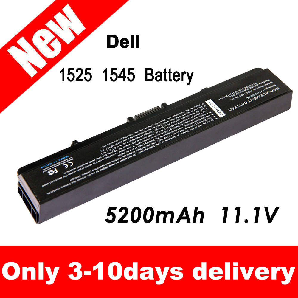 New Replacement Dell Laptop Battery for Inspiron 1526 1525 1545 Fits gw240 rn873 m911g m911 x284g k450n(China (Mainland))