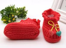 Toddler Newborn Baby Bow tie Heart pendant Knitting Lace Crochet Shoes Buckle Handcraft Shoes Calcados Infantil