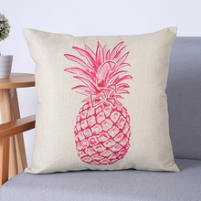 New 18 Inch Pineapple Fruit Print Linen Pillow Case Room Sofa Decor Cushion Cover