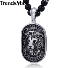 Trendsmax 70.6cm Black Glass Bead Link Chain 316L Stainless Steel Lion Pendant Necklace w/ Black Rhinestones Mens Jewelry HN83