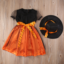 Kids Girl Halloween Witch Costume Baby Girls Orange Pumpkin Halloween Fancy Dresses+Hat Outfits Clothes Set