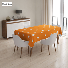 Table Cloth Stars Decor Pattern Autumn Warm Color Traditional Classic Country Art Style Orange White 145x120 cm / 145x180 cm