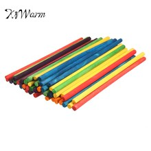 KiWarm 48Pcs/Set Simple 15cm Colorful Round Wooden Sticks Dowels Pole Rods For DIY Home Garden Decoration Tool Accessory