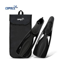 Black Long Fins Scuba Diving Fins Snorkel Swim Training Flipper Flexible US 6-10 Diving Fins with Storage Bag Equipment