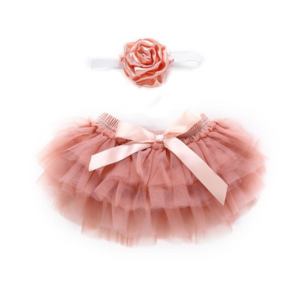 Tutu Skirt for Baby Girls Headband Set Newborn Toddler Ruffle Tulle Diaper Covers 0-18 Months