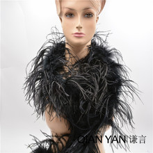 Length 2 Meters Black Ostrich Feather Boas Lady Scarf for Clothing Accessories Wedding Decorations Centerpieces Feathers(China)