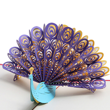Creative Peacock 3D Pop Up Paper Greeting Card Festival Birthday Christmas Gift(China)