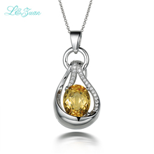 l&zuan 925 silver citrine Woman Pendants Necklaces Trendy yellow 4.75ct natural gemstone Sweater chain luxury Fine jewelry(China)
