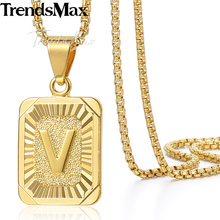 Trendsmax Gold Filled Initital Capital Letter Charm Pendant Necklace Mens Chain Womens Fashion Jewelry GP37-54