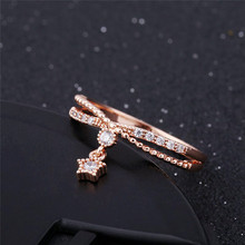 Delicate Small Star Pendant Cubic Zircon Ring Rose Gold Color Fashion Women Girls Gift(China)