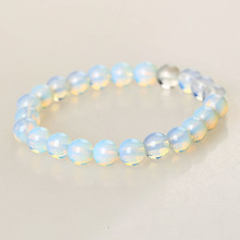 2016 New 8mm Round Crystal Moonstone Natural Stone Stretched Beaded Bracelet for Women(China)