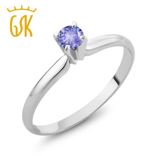 Classic Engagement Ring Real 14K White Gold 1/4 CT Round Natural Blue Tanzanite Solitaire Wedding Ring For Women GemStoneKing(China)