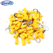 DIANQI RV5.5-8 Yellow Ring insulated terminal suit 4-6mm2 Cable Wire Connector cable Crimp Terminal 50PCS/Pack RV5-8 RV