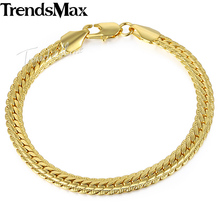 Trendsmax 6mm 21cm Womens Mens Chain Unisex Snake Chain Hammered Close Curb Link Yellow White Rose Gold Filled Bracelet GB391(Hong Kong)
