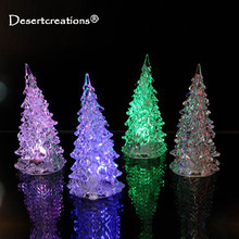 Acrylic LED Christmas Tree Luminous Colorful Lights Home Decor Christmas Lamp Accessories Flashing Xmas Tree Desk Ornaments(China)