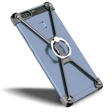 OATSBASF Cover funda capa for Huawei P9 X-shape Metal Cell Phone Case with Finger Ring Kickstand-Black