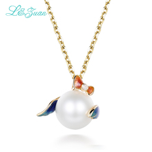 l&zuan Real 18 K Gold Natural Diamond Cultured Freshwater Pearl Pendants & Necklaces Enamel Chain Choker Fine Jewelry for Women(China)
