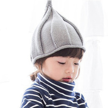 New Fashion Candy Color Winter Knitted Hat Autumn Winter Warm Pointed Hat Boys Girls Cap Kids Windmill Cap