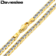 Davieslee Mens Womens Necklace Rose Gold Filled Chain Curb Cuban Silver Gold Hip Hop Wholesale Jewelry 4/6mm LGN64(China)