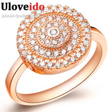 Uloveido Bague Vintage Women's Top Rose Gold Color Silver Rings for Women Zircon Stones Color Gift Ring Fashion Jewelry J160