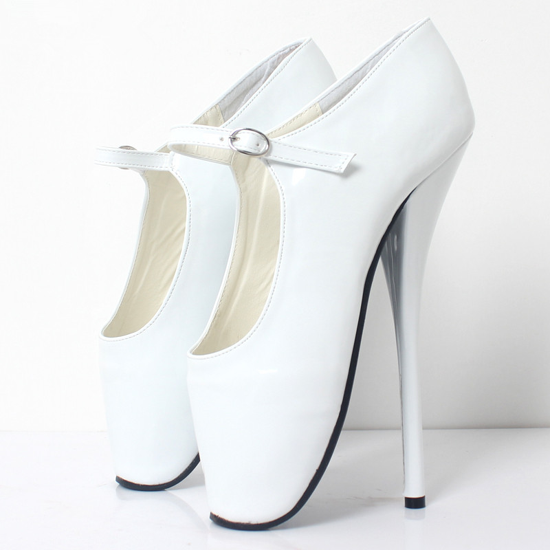 New 18Cm High Heels Sexy Ballet High Heels Shoes High Spike Heel Fetish Ballet Dancer Pointe Toe Ankle Straps Pumps Plus Size