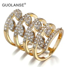 Double Finger ring dubai african bague Knuckle Long Armor Rings for Women Antique Gold crystal punk Rock Party Jewelry DC00007(China)