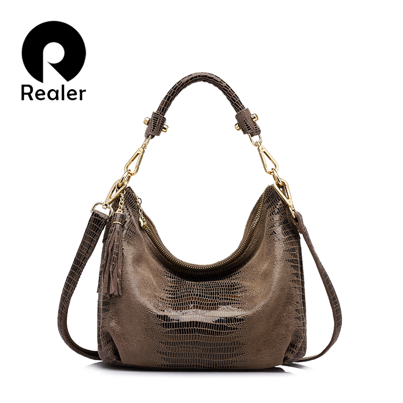 REALER brand women genuine leather bags female serpentine pattern shoulder bag  high quality ladies handbag with tassel<br>