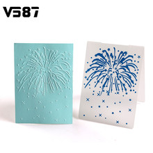 Plastic Blue Fireworks Cake Fondant Mold Cookies Chocolate Molds Embossed Sugar Craft Sheet DIY Baking Decorating Tools Bakeware