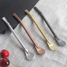 1PC Eco-Friendly Stainless Steel Straw Spoon Drinking Mate Tea Coffee Filtered Spoons Bar Party Supplies 4 Colors(China)
