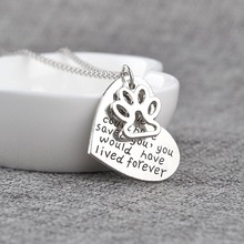 New Hot Sale Hollow Dog Paw Love Heart Lettering Necklace With Metal Chain High Quality Choker For Women(China)