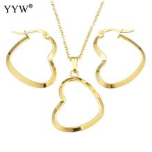 Fashion Stainless Steel Jewelry Sets earring & necklace Heart gold color plated oval chain & for woman 18 Inch Sold By Set