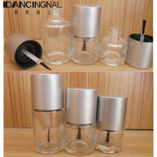 10pcs Transparent Glass Nail Polish Bottle Empty With A Silver Lid Brush Empty Cosmetic Round Nail Oil Glass Bottles Containers