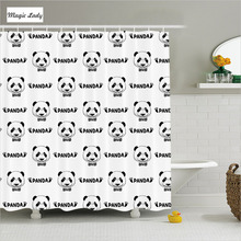 Shower Curtain Set Bathroom Accessories Panda Face Head Footprint Silhouette Animal Art Black White 180*200 cm