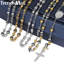 Trendsmax Rosary Jesus Christ Cross Pendant Necklace Stainless Steel Bead Chain Mens Womens Christian Jewelry KN434-KN441(Hong Kong)