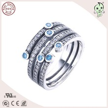 P&R  products Popular European Famous Brand New Collection Blue Stone 925 Genuine Silver Ring