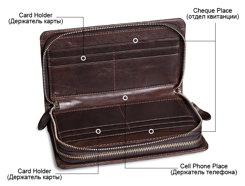 Wallet Cowhide Leather Capacity 6