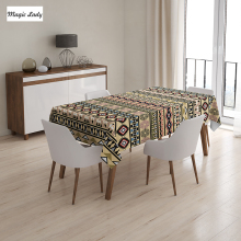 Ethnic Tablecloth Horizontal Stripes Ornament Native American Indian Geometrical Figures Brown Black 145x120 cm / 145x180 cm