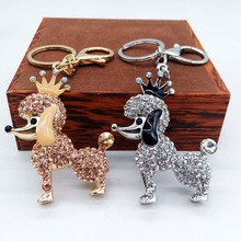 Crown Poodle Dog Rhinestone Crystal Key Ring Chains Holder Bag Buckle Pendant For Car Keyrings KeyChains(China)
