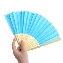Chinese Style Bamboo Paper Pocket Fan Folding Foldable Hand Held Fans Wedding Favor Event Party Supplies Candy Color(China)