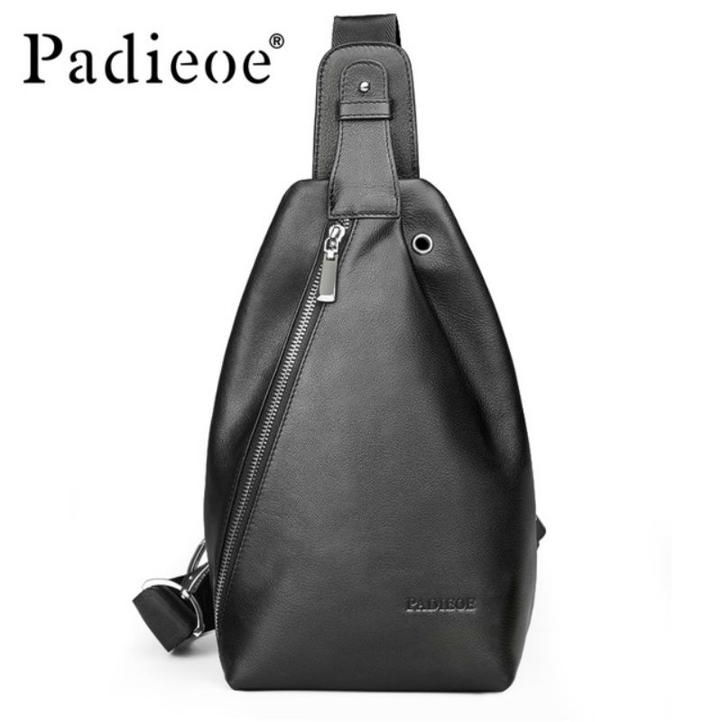Padieoe Luxury Brand Genuine Leather Mens Chest Pack Fashion Mens Crossbody bag Casual Leather Men Shoulder Messenger Bags<br>