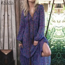 Buy ZANZEA Women Summer Dress 2017 Fashion Boho Print Dresses Sexy Deep V Neck Long Sleeve Maxi Long Dress Casual Beach Vestidos for $14.68 in AliExpress store