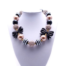 MHS.SUN Girls Kids Bowknot Girls Chunky Necklace Black&Brown Acrylic Bead Bubblegum Necklace Cuet Baby Kid Jewelry Choker TBN076