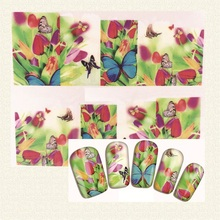High Quality  Hot Sale Glitter Nail Art Sticker Butterfly Image With Flowers Water Transfer Nail Art Decals