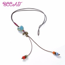 Bohemian national ornaments women's long-term handmade ceramic beads sweater chain decorated with Large Necklace