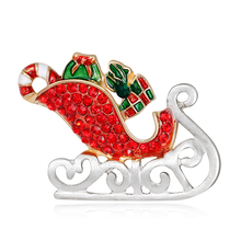 Women's Chic Santa Sleigh Xmas Themed Multicolor Brooch Pin Breastpin Gift(China)