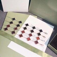 Марка Pure 925 серебро украшения для женщин розового цвета золота браслет Мать Shell Pearl клевер браслет цветок 15 мм(China)